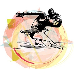 woman ice skater skating at colorful sports arena vector image vector image