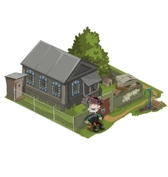 Village house with land garden and character vector