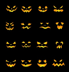 Pumpkins scary faces vector