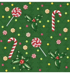 Candies lollipops and holly berry vector
