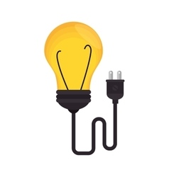 Bulb light with wire education icon vector
