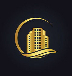 Gold building town cityscape logo vector