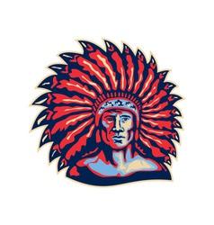 Native American Indian Chief Warrior Retro vector image