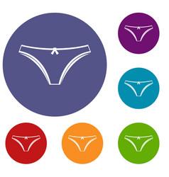 Panties icons set vector