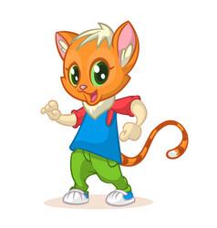 cartoon kitty dancing vector image