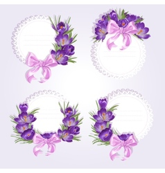 Labels with purple crocus flowers vector
