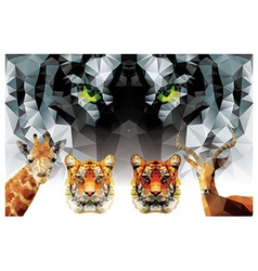 Collection of geometric polygon animals tiger vector image