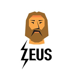 Zeus head logo with type vector