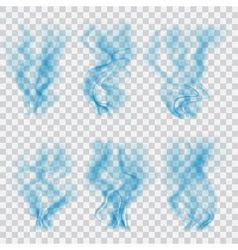 Set of translucent blue smoke vector