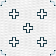 Plus icon sign seamless pattern with geometric vector
