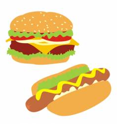 hamburger and hotdog vector image