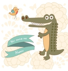 You make me happy concept card with cute alligator vector