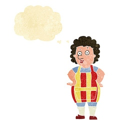 Cartoon woman in kitchen apron with thought bubble vector