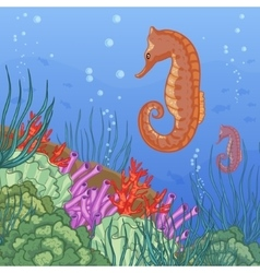 Underwater world with coral reefs and sea-horse vector