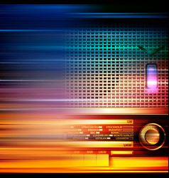 Abstract blur music background with retro radio vector