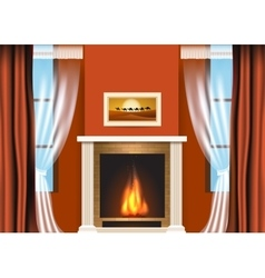 Classic living room interior with fireplace vector