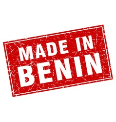 Benin red square grunge made in stamp vector
