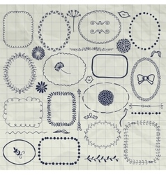 Decorative pen drawing borders frames vector