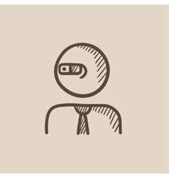 Man in augmented reality glasses sketch icon vector