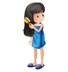 A young girl combing her long hair vector image