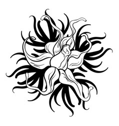 black and white flower tattoo vector image vector image