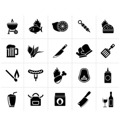 Black grill and barbecue icons vector