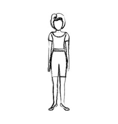 Blurred sketch contour body faceless woman with t vector