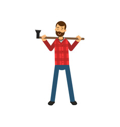Cartoon bearded woodcutter character in red plaid vector