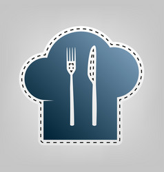 Chef hat and spoon fork knife sign blue vector