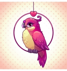 Cute cartoon pink girl bird vector