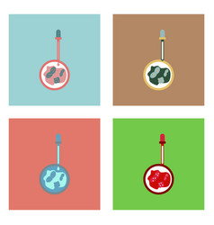 Flat icon design collection pipette and bacteria vector