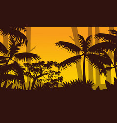 Forest scenery at sunset with tree silhouette vector