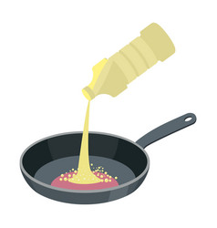frying pan with butter isolated kitchen utensils vector image