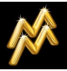 Gold zodiac sign aquarius on black background vector