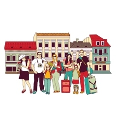 Group tourists people color isolate city street vector