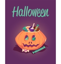 Happy halloween greeting card poster vector