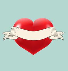 Heart with retro ribbon vector