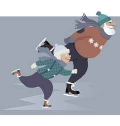 Ice skating with grandpa vector