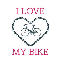 Love bike card 2 vector