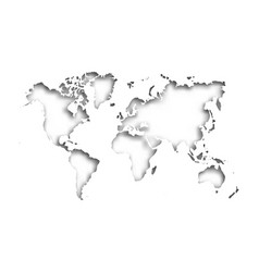 Map of world cut into paper with inner shadow vector