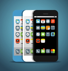 Modern smartphones with different color icons vector image vector image