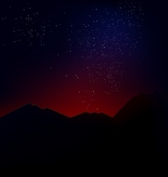 Mountain landscape with the cosmic horizon vector