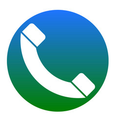 phone sign white icon in vector image