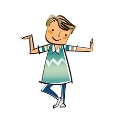 portrait boy standing vector image vector image