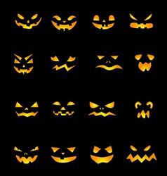 Pumpkins scary faces vector