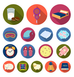 Rest and sleep flat icons in set collection for vector