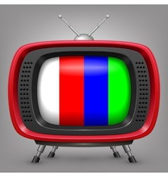 Retro red tv with color strips vector