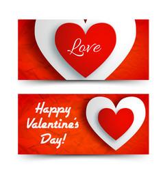 romantic greeting horizontal banners vector image vector image