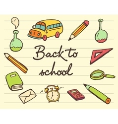 School icons set back drawn vector image