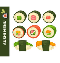 Sushi food colorful flat collection on vector
